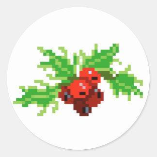 Pegatina Redonda Guirnalda del acebo del arte del pixel