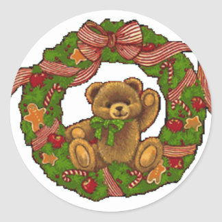 Pegatina Redonda Guirnalda del oso de peluche del navidad
