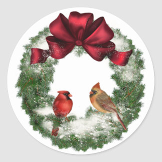 Pegatina Redonda Guirnalda del pájaro del navidad