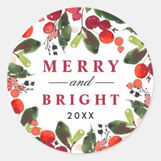 Pegatina Redonda Guirnalda feliz y brillante del navidad de la