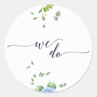 Pegatina Redonda Hacemos a los pegatinas del boda del jardín del