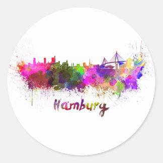 Pegatina Redonda Hamburg skyline in watercolor