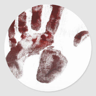 Pegatina Redonda Handprint de la sangre del asesino en serie