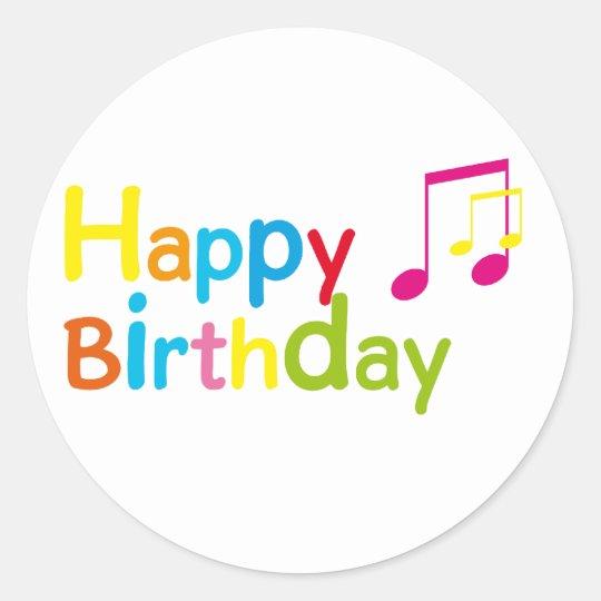 Pegatina Redonda Happy Birthday