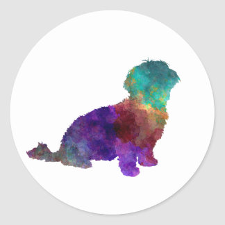 Pegatina Redonda Havanese in watercolor