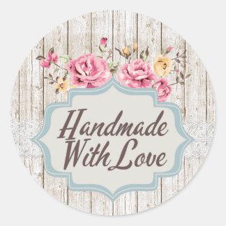 Pegatina Redonda Hecho a mano con madera rústica floral elegante