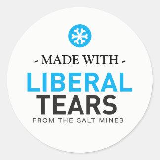 Pegatina Redonda Hecho con los copos de nieve liberales MAGA