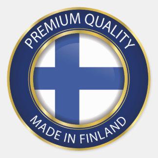 Pegatina Redonda Hecho en Finlandia, bandera finlandesa