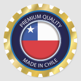 Pegatina Redonda Hecho en la bandera de Chile, colores chilenos