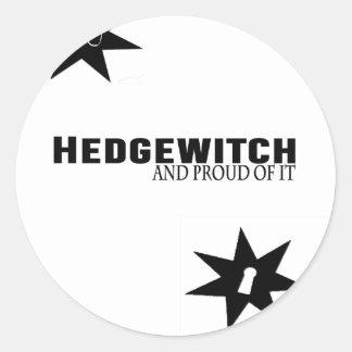 Pegatina Redonda Hedgewitch y orgulloso de él