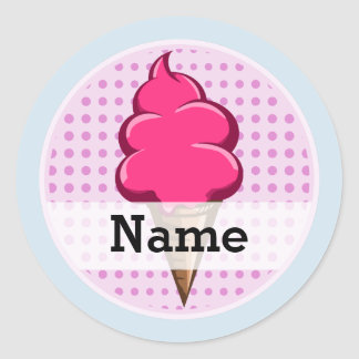 Pegatina Redonda Helado personalizado rosa lindo para los chicas