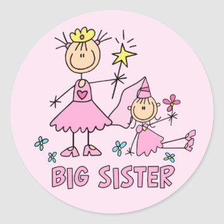 Pegatina Redonda Hermana grande de princesa Duo del palillo