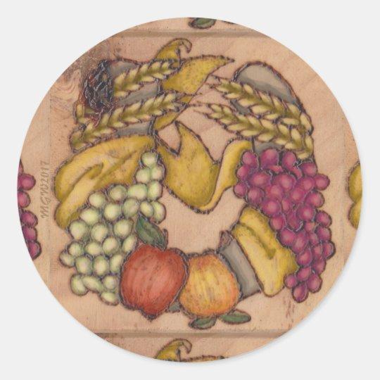 Pegatina Redonda Hogar de cosecha de herradura de Mabon de la