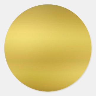 Pegatina Redonda Hoja de la plantilla en blanco del oro falsa