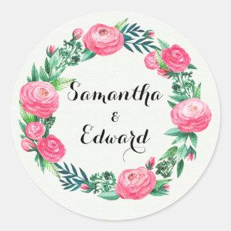 Pegatina Redonda Hojas florales de la acuarela de los rosas
