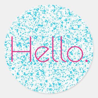 Pegatina Redonda Hola pegatinas dálmatas azules de la impresión