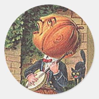 Pegatina Redonda Hombre cantante de la calabaza del vintage