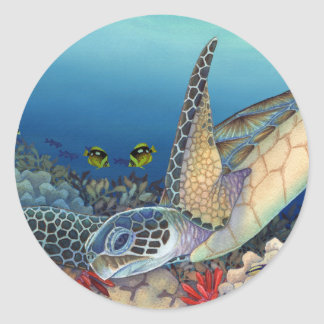 Pegatina Redonda Honu (tortuga de mar verde)