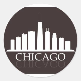 Pegatina Redonda horizonte de Chicago