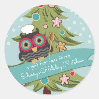 Pegatina Redonda Hornada del día de fiesta del árbol de navidad de
