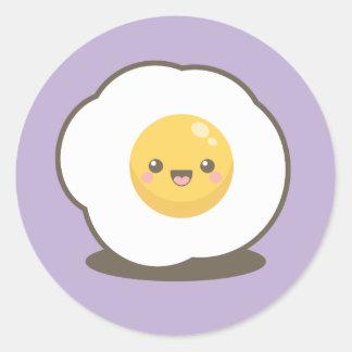 Pegatina Redonda Huevo frito feliz lindo de Kawaii