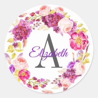 Pegatina Redonda Hydgrangea púrpura bonito y con monograma floral