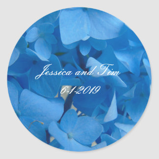Pegatina Redonda Hydrangeas azules