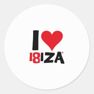 Pegatina Redonda I love Ibiza 18IZA Edición Especial 2018