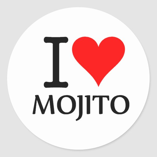 Pegatina Redonda I Love Mojito 3