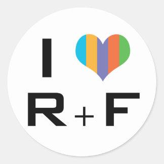 Pegatina Redonda I love R+F