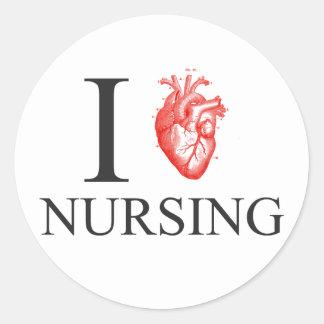 Pegatina Redonda I oficio de enfermera del corazón