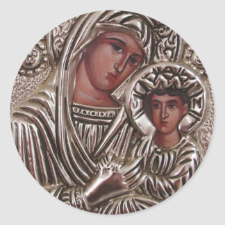 Pegatina Redonda Icono de la madre y del niño, Madonna y Jesús en