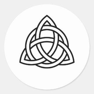 Pegatina Redonda Icono original del negro del nudo de Triquetra del