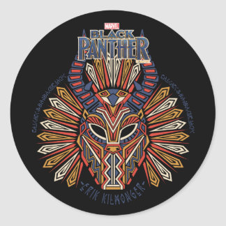 Pegatina Redonda Icono tribal negro de la máscara de la pantera el