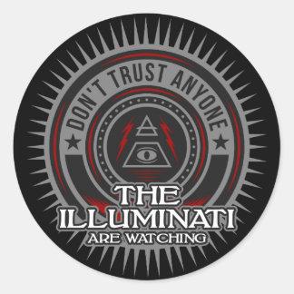 Pegatina Redonda Illuminati está mirando no confía en cualquier