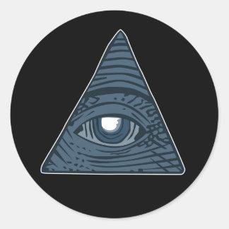 Pegatina Redonda Illuminati todo el símbolo de la pirámide del ojo