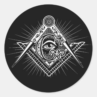 Pegatina Redonda Illuminati todo el símbolo del Freemason del ojo