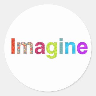 Pegatina Redonda Imagínese la tarjeta colorida de la inspiración de