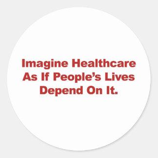 Pegatina Redonda Imagínese las vidas de la gente de la atención