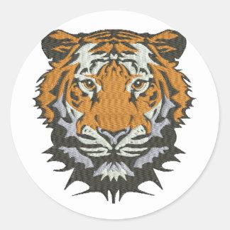 Pegatina Redonda imitación del tigre del bordado