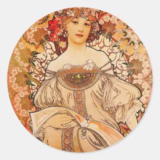 Pegatina Redonda Impresión de Nouveau Mucha del arte del vintage