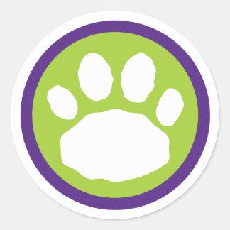 Pegatina Redonda Impresión verde y púrpura Halloween de la pata