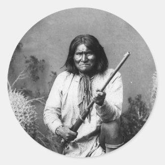Pegatina Redonda Indio icónico histórico Geronimo del nativo