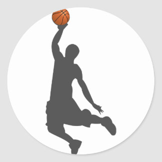 Pegatina Redonda Individuo de la mosca del baloncesto