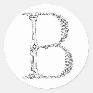 Pegatina Redonda Inicial del hueso de la letra B