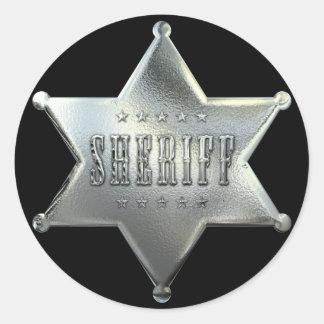 Pegatina Redonda Insignia de plata del sheriff de la estrella