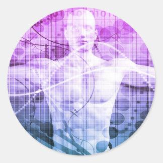 Pegatina Redonda Investigación de la ciencia como concepto para la