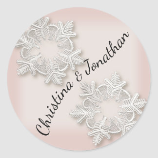 Pegatina Redonda Invierno elegante de los copos de nieve que se