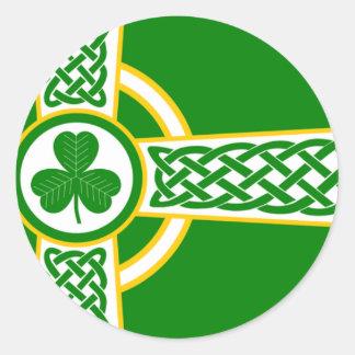 Pegatina Redonda Irish_Celtic_Cross