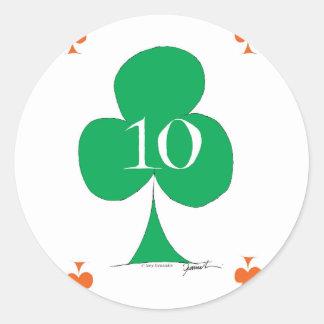 Pegatina Redonda Irlandés afortunado 10 de los clubs, fernandes
